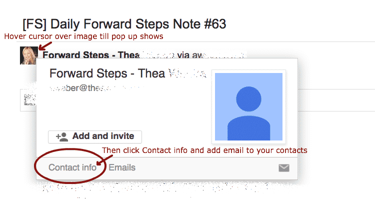 Use Gmail - Add Forward Steps to your contacts