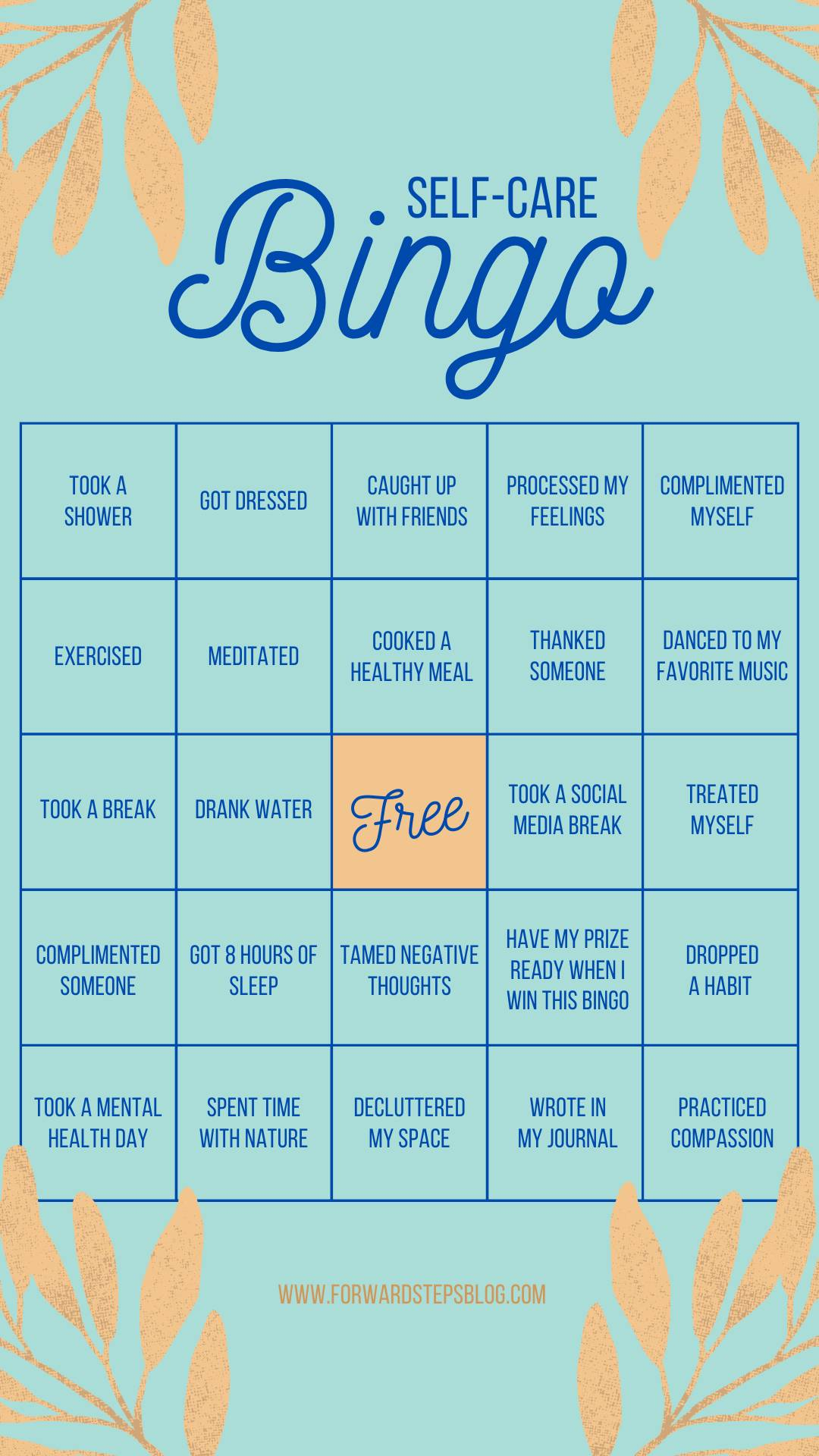 Raise Our Spirit Self Care Bingo from Forward Steps